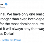 Trump calls the US Dollar the most dominant currency in the world